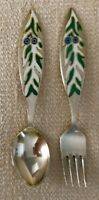 "A. MICHELSEN 1970 Christmas Fork & Spoon Set 6 3/8"" Denmark JUL Sterling SILVER"