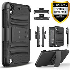 HTC Desire 530 Case, Dual Layers Belt Clip+  Premium HD Screen Protector