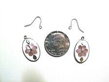 Alpaca Silver Earrings with Abalone Inlay.  BONUS...See Description!