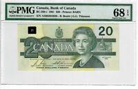 Canada $20 Dollars Banknote 1991 BC-58b-i PMG Superb GEM UNC 68 EPQ