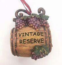 Kurt Adler Perfect Vintage Reserve Grape Wine Wood Barrel Christmas Ornament