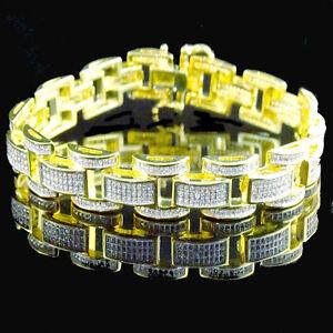 14K Gold Finish Men's Ladies Pave Round White Lab Diamond Bracelet 8.25 Inch New