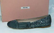 MIU MIU tg. 35,5 Scarpe Ballerine scarpe Brillante grigio + nero nuovo