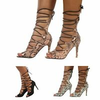 WOMENS ANKLE FASHION LACE UP ZIP LADIES PARTY PEEP TOE HIGH STILETTO HEELS SHOES