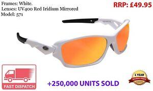 RayZor White Sports Wrap Sunglasses Uv400 Red Iridium Mirrored Lens RRP£49 (571)