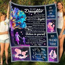 To My Daughter, Love Mom galaxy version  Fleece Blanket, Quilt Blanket