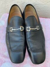 d87af980dbe68 GUCCI BLACK PEBBLED LEATHER MENS LOAFERS W  HORSEBIT BUCKLE  595 SZ 13.5