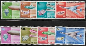 Maldive Islands Scott #266-73, Singles 1968 Complete Set FVF MH