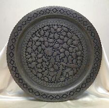 Very Detailed Antique Metal Tray w. Hand Hammered Birds within Leaves Design