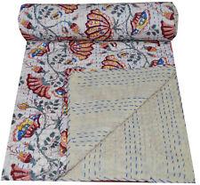 Indian Handmade Cotton Kantha Quilt Bedspread Throw Blanket Gudri Floral Print