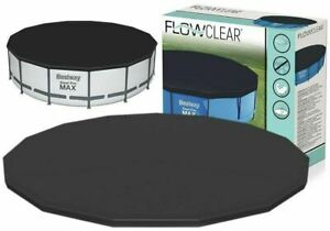 BESTWAY 10FT FLOWCLEAR STEEL PRO MAX POOL COVER PVC FAST EASY SET ROUND SWIMMING
