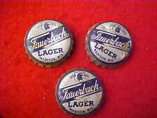 (3) THREE VERY OLD FAUERBACH LAGER, MADISON,  WIS, USED BEER BOTTLE CAPS/CROWNS