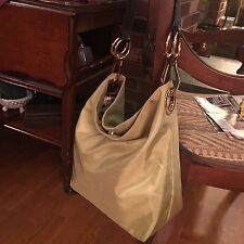 Authentic JPK PARIS 75 Lime Green Nylon Bucket Tote Bag Chunky Gold Leather $170