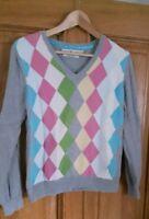 Tommy Hilfiger L grau bunt V-Ausschnitt Pullover