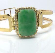 14k Yellow Gold Natural Diamond and Jade Bangle
