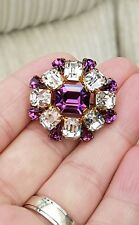 VINTAGE ART DECO JEWELLERY BEAUTIFUL CRYSTAL AMETHYST AGATE GOLD BROOCH PIN