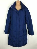WOMENS MARKS & SPENCER BLUE ZIP UP PADDED PUFFER WINTER COAT JACKET SIZE SMALL S