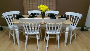 Upcycled Farmhouse Table and Chairs - Handpainted
