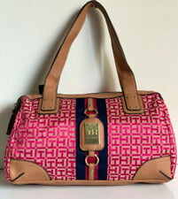 NEW! TOMMY HILFIGER RED PINK BOWLER SATCHEL TOTE PURSE HANDBAG $85 SALE