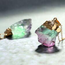 Irregular Green&Purple Natural Stone Crystal Pendent Necklace Origin Stone