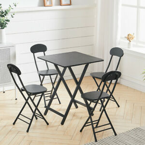 Square Dining Table and Chairs Set Coffee Tea Folding Table Wooden Kitchen Home
