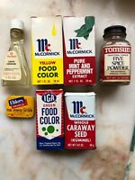 Lot of 7 Vintage Food Color & Spices Advertising Tins Bottles Saffron Onion USA