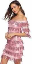 Womens Cute Off The Shoulder Sequin Fringe Mini Short Dresses Evening Gown Pk M
