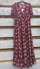 Rogers @ Matalan Navy Blue Pink/Orange Floral 2in1 Maxi Dress Size 18 BNWT