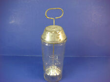 "Vintage National Dairy Glass Hand Power Malted Milk Mixer Hazel Atlas Tin 9"" VS6"