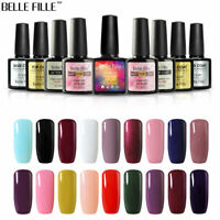 BELLE FILLE 10ml Soak Off UV LED Gel Nail Polish Foundation Top Coat & Base Coat