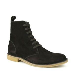$820 Bottega Veneta Men's Brown Suede Lace Up Side Zipper Boots 427383 2006
