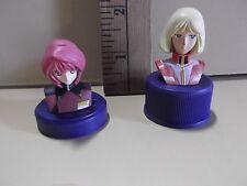 "#A277 Gundam Wing Anime 2 Bottle Cap Looking Lady Figures 1.5""in & 2""in"