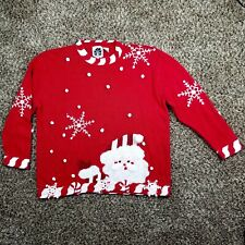 Storybook Knits Red Christmas Sweater, Size 1X, Santa Claus Snowflake Candy Cane