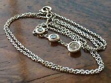 9ct White Gold Cubic Zirconia Three Stone Pendant Necklace & Box 15.5 Inch 1.9g