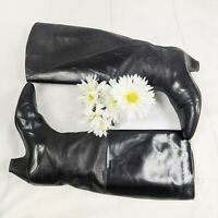 Charles David Vintage 80s Women's Black Embossed Flat Leather Heeled Boots 7AA