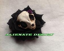 Lo Steampunk Burlesque Black Rose Skull Zombie Clip per capelli Fascinator con Tiki
