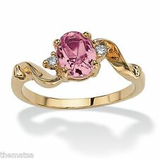 WOMENS 14K GOLD PLATED BIRTHSTONE PINK TOURMALINE CRYSTAL RING 5 6 7 8 9 10