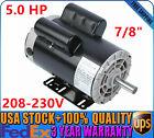 5+HP+Air+Compressor+Duty+Electric+Motor+56+Frame+3450+RPM+1+Phase+208-230V+7%2F8%22