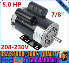 5 Hp Air Compressor Duty Electric Motor 56 Frame 3450 Rpm 1 Phase 208 230v 78