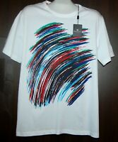 Bugatchi White  Egsotic Design Cotton Men's T- Shirt Shirt Size XL NEW