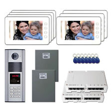 "Multi Tenant Door Panel Video Intercom System Kit with (7) 7"" Color Monitors"