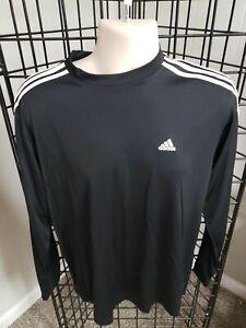 Adidas Men's Large Long Sleeve Shirt Pullover Black 3 stripes Crew Neck