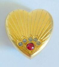Antique P. & K. 10K Gold Filled Paste Stone Heart Pin Watch Holder