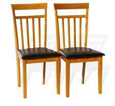 Set of 2 Warm Dining Room Kitchen Chairs Solid Wood Hardwood in Maple Finish
