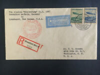 1936 Germany Hindenburg Zeppelin LZ 129 first Flight cover to USA Bahnpost FFC