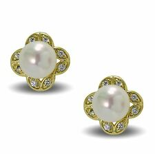 9ct Gold Filled Stud Earrings with Synthetic Pearl and CZ Crystals Womens Ladies
