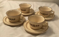 Set of 4 Pfaltzgraff USA Village Brown Cream/Yellow Cups and Saucers