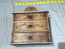OLD Vintage Antique Wood SPICE HERB RACK SHELF BOX with 3 Drawers Chest Cabinet
