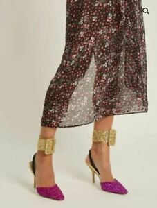 THE ATTICO Gold Glitter-Embellished Ankle Straps RRP £300