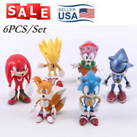 US Seller Sonic the Hedgehog Tails 6 Figurines Cake Topper Playset Toy Doll Set